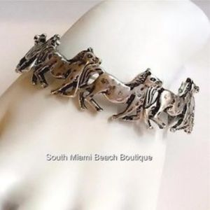 Silver Mustang Horse Bracelet Country Western